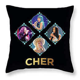 Cher – Blue Diamonds Throw Pillow